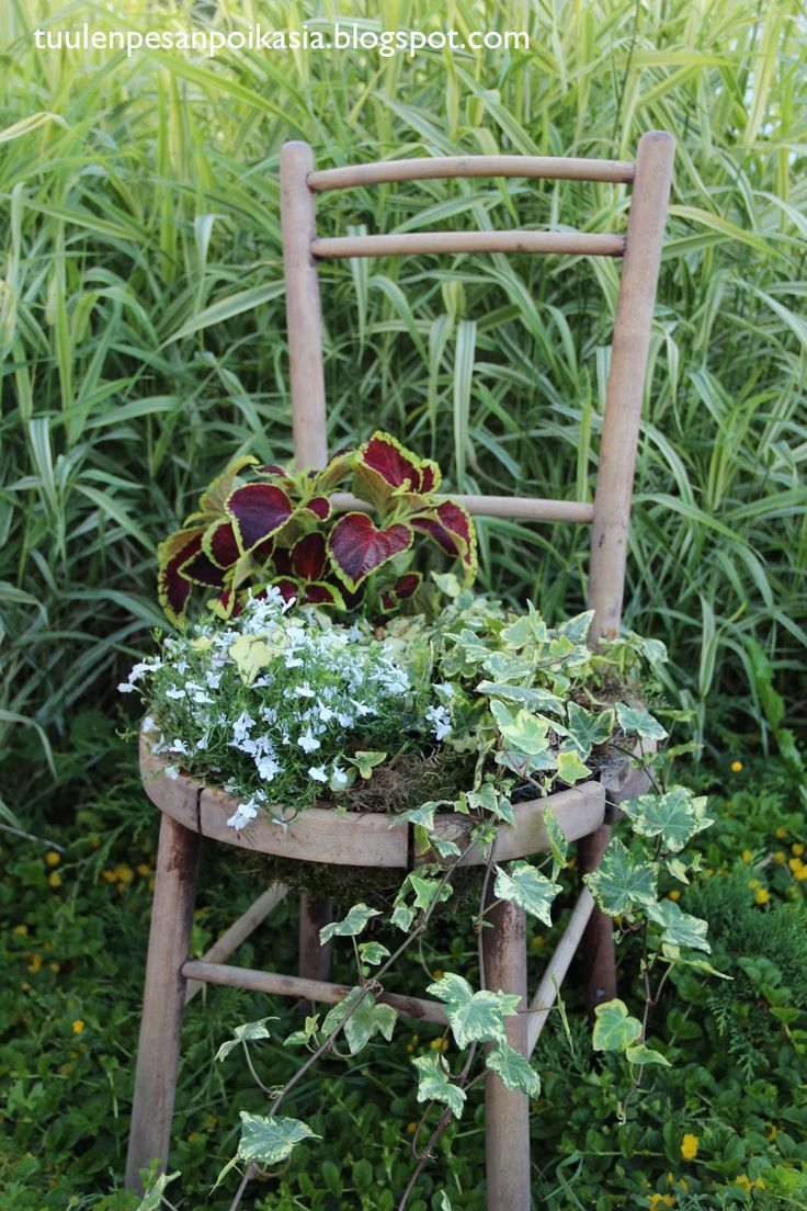Old chair with flowers