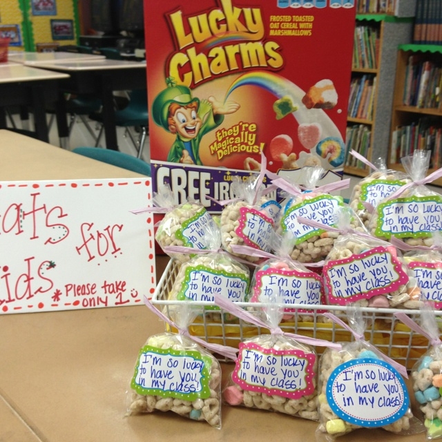 Open House Treats- I'm so lucky to have you in my class. ( Lucky Charms cereal)