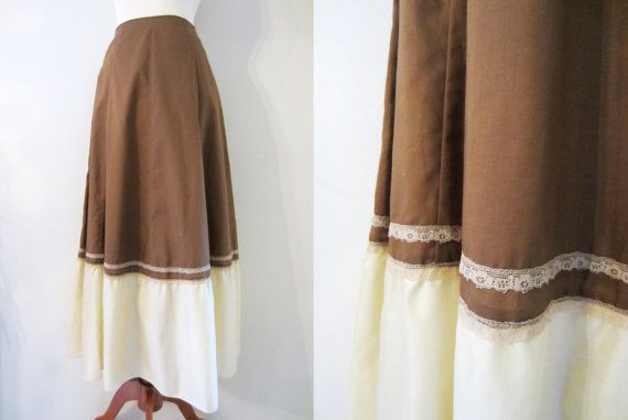 80s Cappuccino A-Line Maxi Skirt by Kati, XS-S / W25 // Vintage Brown and Cream Lace Skirt