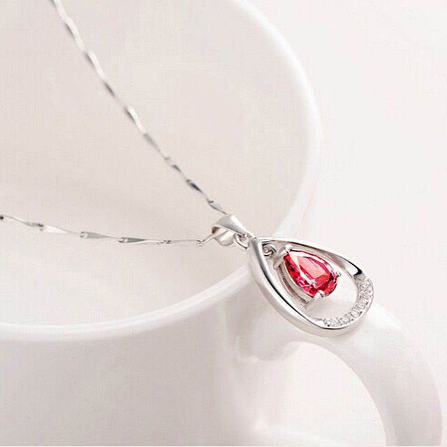 Sterling silver necklace with red Crystal  #necklace