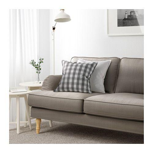 STOCKSUND Divano a 3 posti - Nolhaga grigio-beige, marrone chiaro - IKEA