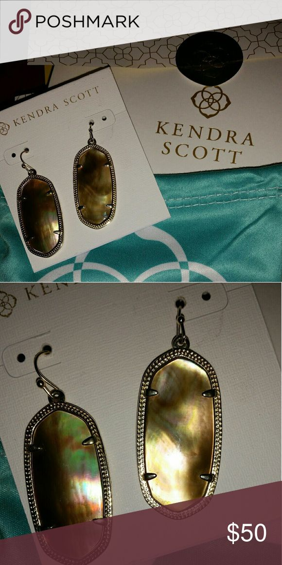 "Kendra Scott Elle BMOP Earrings Kendra Scott Elle earrings in Brown Mother of Pearl 14k gold over brass. These are absolutely gorgeous bought from Kendra Scott store in Houston. These in EUC they were my very first pair of KS only worn a couple of times. The only reason I am selling is I want these in the larger Danielle size. Come with the KS dust bag. 1.44""L x .69""W on earwire. Kendra Scott Jewelry Earrings"