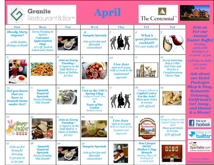Calendar Monthly Events : Take a look at centennial hotel granite restaurant s
