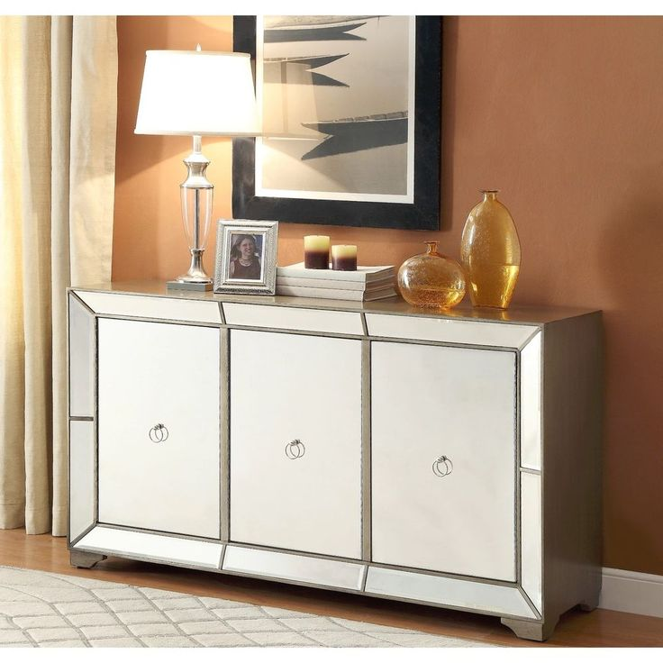 Powell Furniture 14BO8083CC Bombay Monterey Mirrored Sideboard in Antique Silver #Powell #HollywoodRegency