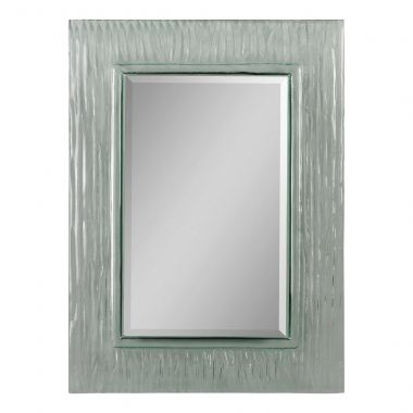 This contemporary rectangular mirror has a glass frame with a wave pattern and a bevelled mirror. It is a great look for a bathroom and can be hung horizontally or vertically.