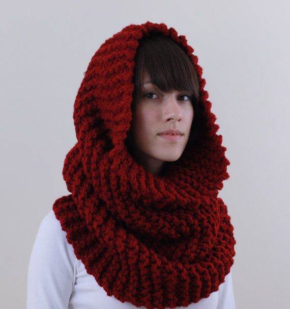 Knit Cowl Scarf Knit Oversized Chunky Red Cowl