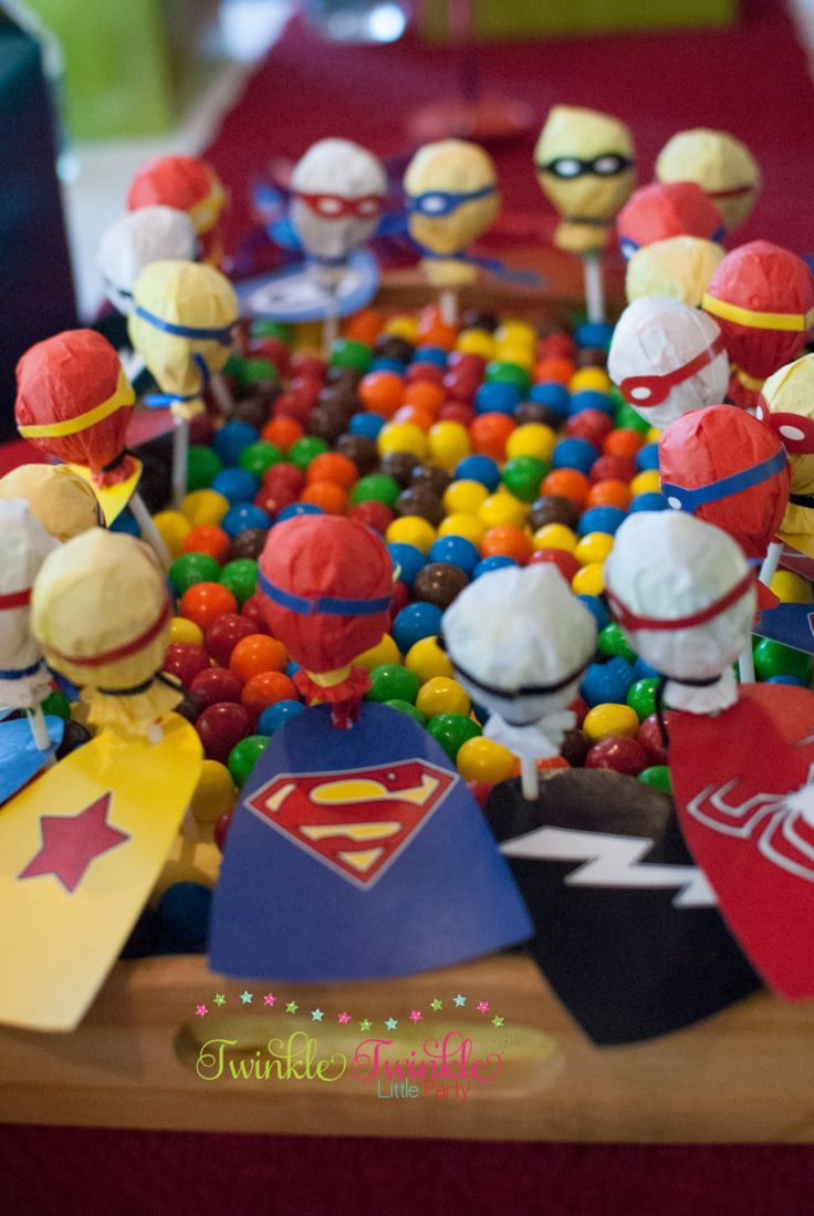 Superhero Birthday Party - Lollipop Stick Capes / Candy Buffet / Dessert Table / Party Favors / Labels / Masks / Superhero Party / Superhero Party Theme / Superhero Party Ideas / Superhero Party Favors / Superhero Birthday / Superhero Birthday Party Theme / DIY Superhero Party Ideas