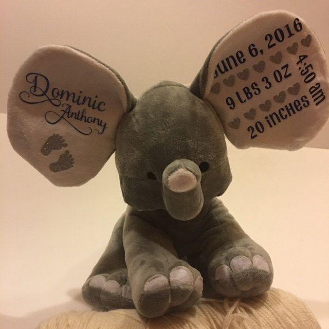 Elephant birth announcement, great baby gift, baby boy, baby girl, newborn gift by RAmysCraftRoom on Etsy