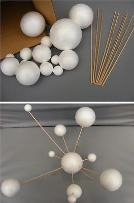 Faites votre propre système solaire modèle ~ 14 boules polystyrène Mixte 2 cm - 7cm & tiges