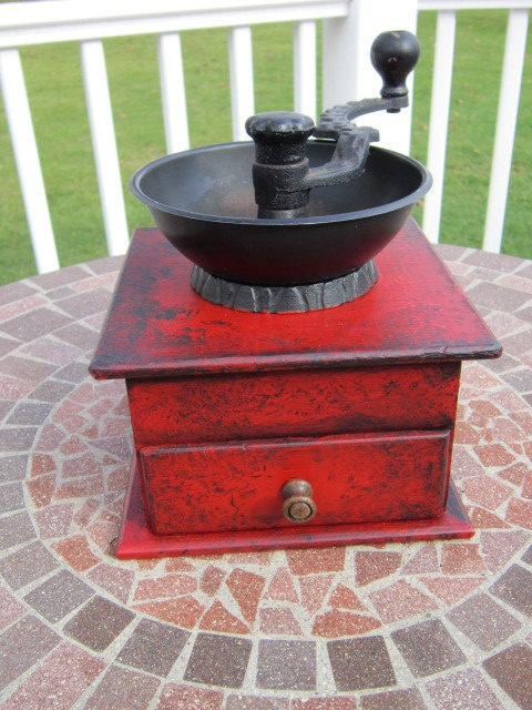 Antique Coffee Grinder Hand Painted Red by FrenchCountryRooster!!!!!  45.00