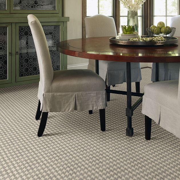 Carpet Paddock Houndstooth 12' - TV236 - Gray - Flooring by Shaw