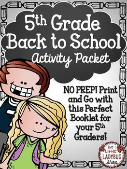 Back To School Activity Packet {5th Grade- NO PREP}   Back To School   5th Grade Activity   No Prep   First Day of School  Beginning of Year ActivitiesThis Back to School activity packet is perfect for your 5th graders as they start back to school! The first few days of school are so hectic, why not make your time valuable and manageable!