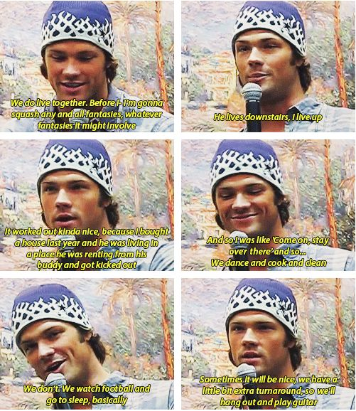 "Jared about living with Jensen GIFset | I love how he just accepts that there are Wincest shippers, but he's nice about the ""No. Never gonna happen"" fact :)"