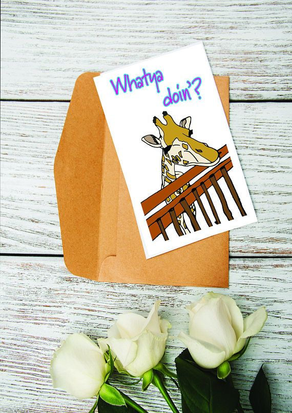 Hey, I found this really awesome Etsy listing at https://www.etsy.com/nz/listing/547477096/greeting-card-nosey-giraffe-says-whatya