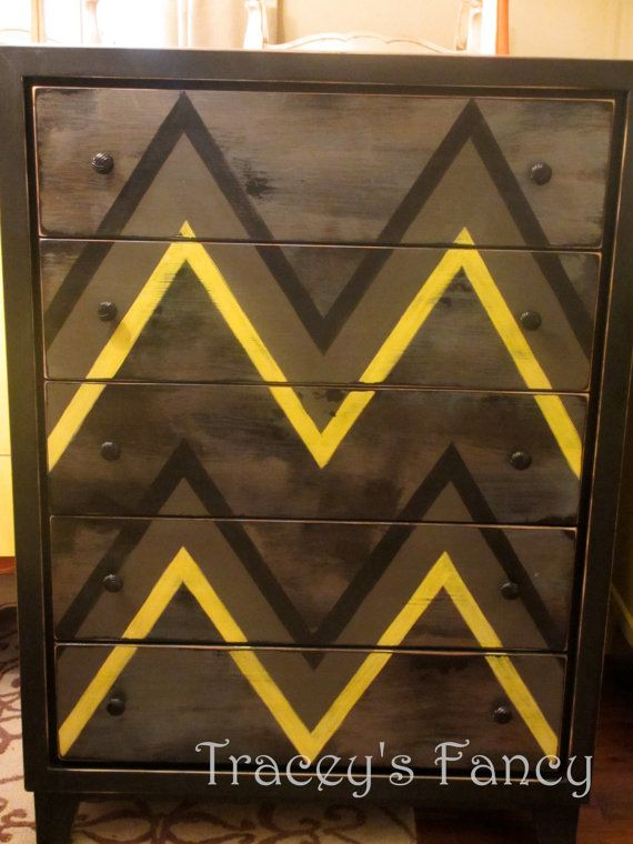Custom Painted Vintage Chest of Drawers  Made to by TraceysFancy, $750.00    Brown Yellow Chevrons