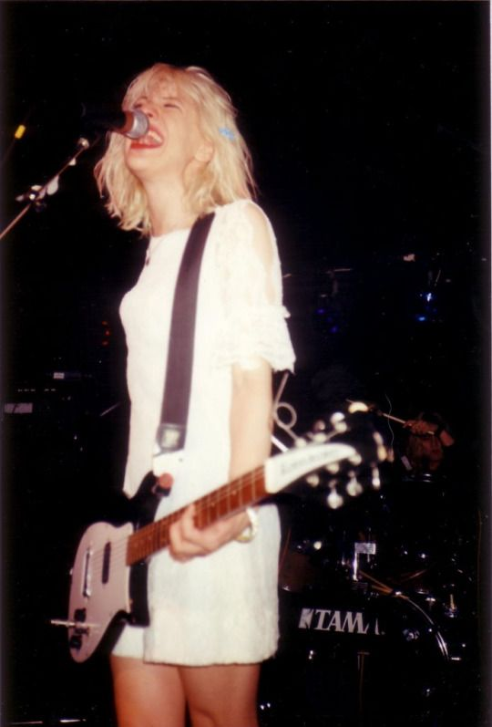 Courtney Love, Hole supporting Mudhoney at the Venue. London, August 1991. #grunge Mark Arm ended up wearing Courtney's dress during the Mudhoney encore. Kurt & the other members of Nirvana were in the audience that night