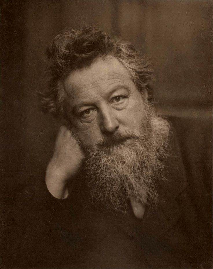 "William Morris. Padre del diseño moderno y anti-mecanista. Está en contra del diseño industrial, negándose pues a entrar en la exposición ""The Great Exhibition of London""."