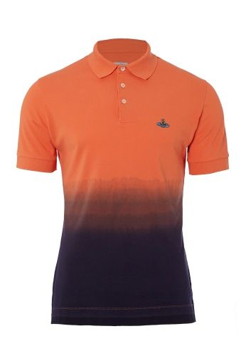 Craft you own style this Spring/Summer 2014 with Vivienne Westwood's dip dyed polo shirt. Produced in complementing colours, the bright orange polo is immersed in deep purple. Designed with a step hem, this piece is finished with the Orb embroidered onto the chest.