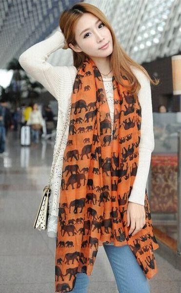 Orange Elephant Scarf - Buy 1 Get 1 Free