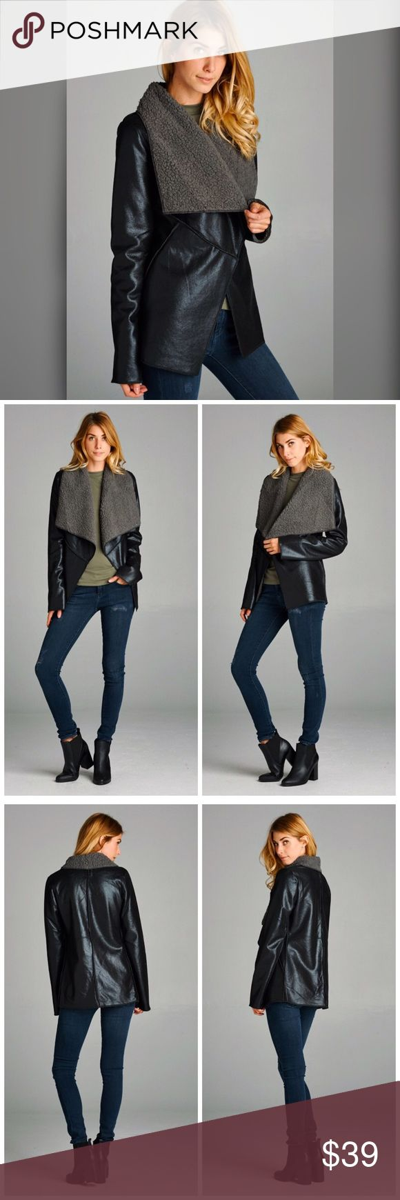 Faux Suede gray and black shearling coat! Semi-loose fit, long sleeve, open closure jacket. Lapel foldover. Sleeves cuffed. This jacket is made with medium weight faux suede fabric that is fully lined with a very soft and plush shearling. Fabric 100% Polyester Jackets & Coats