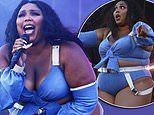 Lizzo showcases her eye-popping curves in strappy denim crop top at FOMO festival