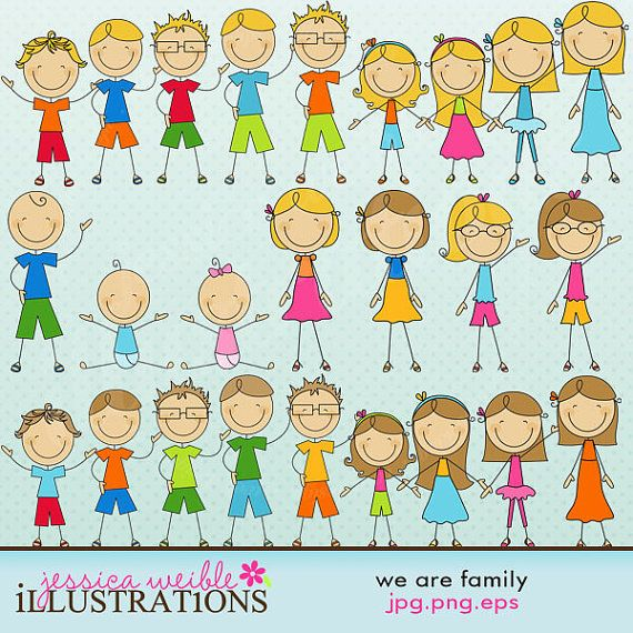 We Are Family Stick Figures Cute Digital Clipart for Card Design, Scrapbooking, and Web Design: Cards Design, Web Design, Families Sticks, Art And Crafts, Clip Art, Sticks Figures, People Clipart, Sticks People, Digital Clipart