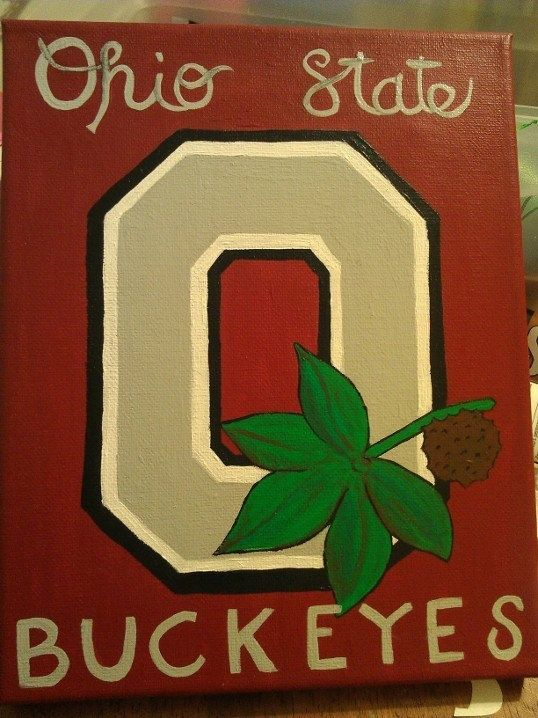 Ohio State Canvas by moorecrayons on Etsy, $10.00