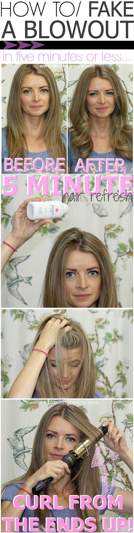 Fake a blowout by curling from the ends up using a large barreled curling iron. | 29 Hairstyling Hacks Every Girl Should Know
