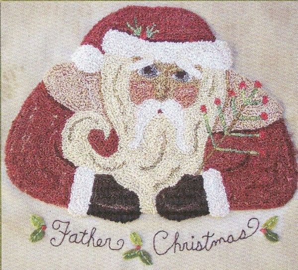 Father Christmas Punchneedle Embroidery Pattern By Hooked On Rugs For Heart To Hand. Includes ...