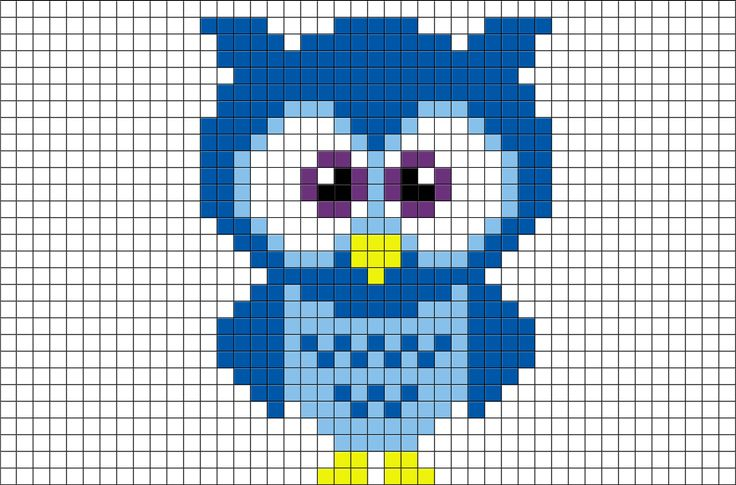 Blue Owl Pixel Art from BrikBook.com #Blue #Owl #bird #animal #cute #pixel…