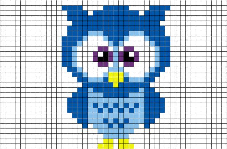 Blue Owl Pixel Art from BrikBook.com #Blue #Owl #bird #animal #cute #pixel…