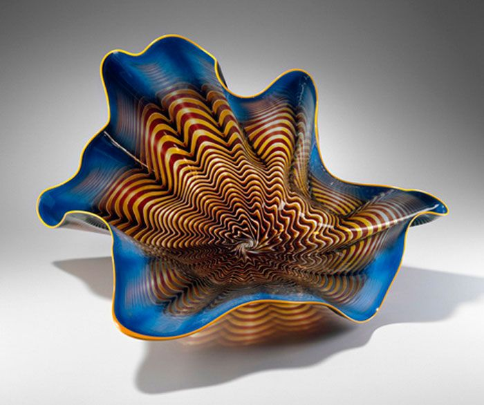 """Dale Chihuly, American, born in 1941, Rembrandt Blue and Oxblood Persian, detail, 1990, Blown glass, Overall: 35 x 26 1/2 x 27 1/2"""", The Wornick Collection , © Dale Chihuly, Photograph © 2006 Lee Fatherree, Courtesy, Museum of Fine Arts, Boston"""