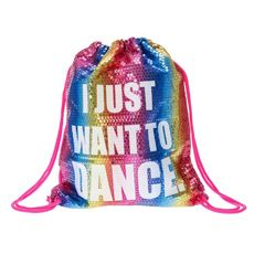 Rainbow Sequin I Just Want to Dance  Drawstring Bag