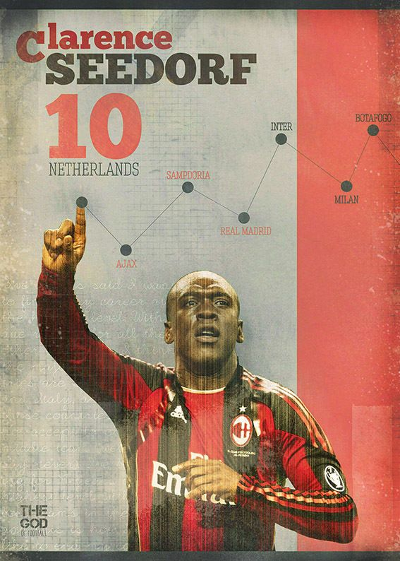 The Gods Of Football (Part I) by Marija Marković on Behance — Clarence Seedorf, #10, Netherlands