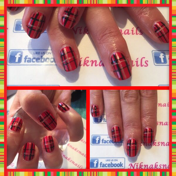 Tartan gel polish nails