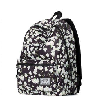 Artone Jasmine Print Floral Artistic Padded School Bag Daypack Casual Backpack With Laptop Compartment Black White