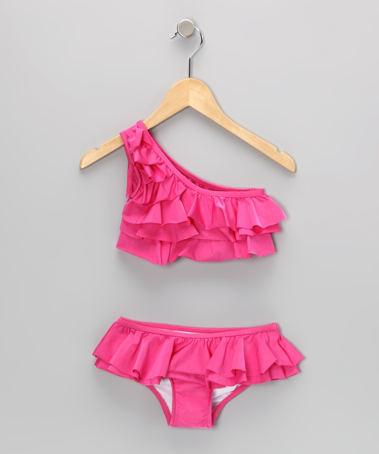 Fuchsia Asymmetrical Tiered Ruffle Skirted Bikini - Girls | Daily deals for moms, babies and kids
