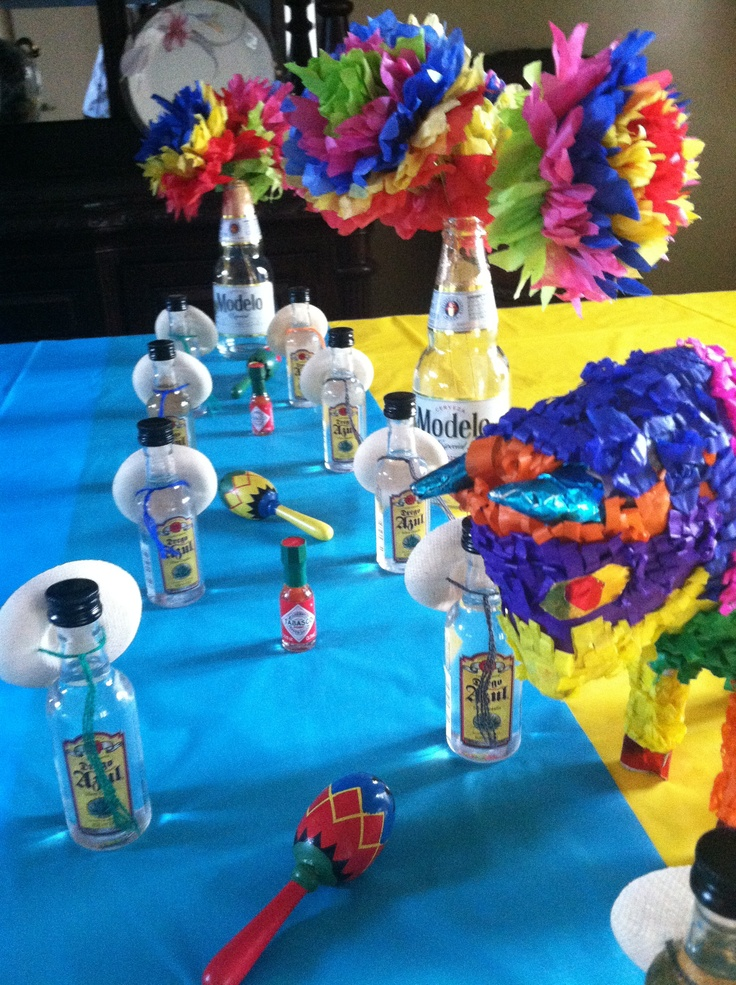 Favors and centerpieces for my husband's 40th birthday fiesta! Ole!
