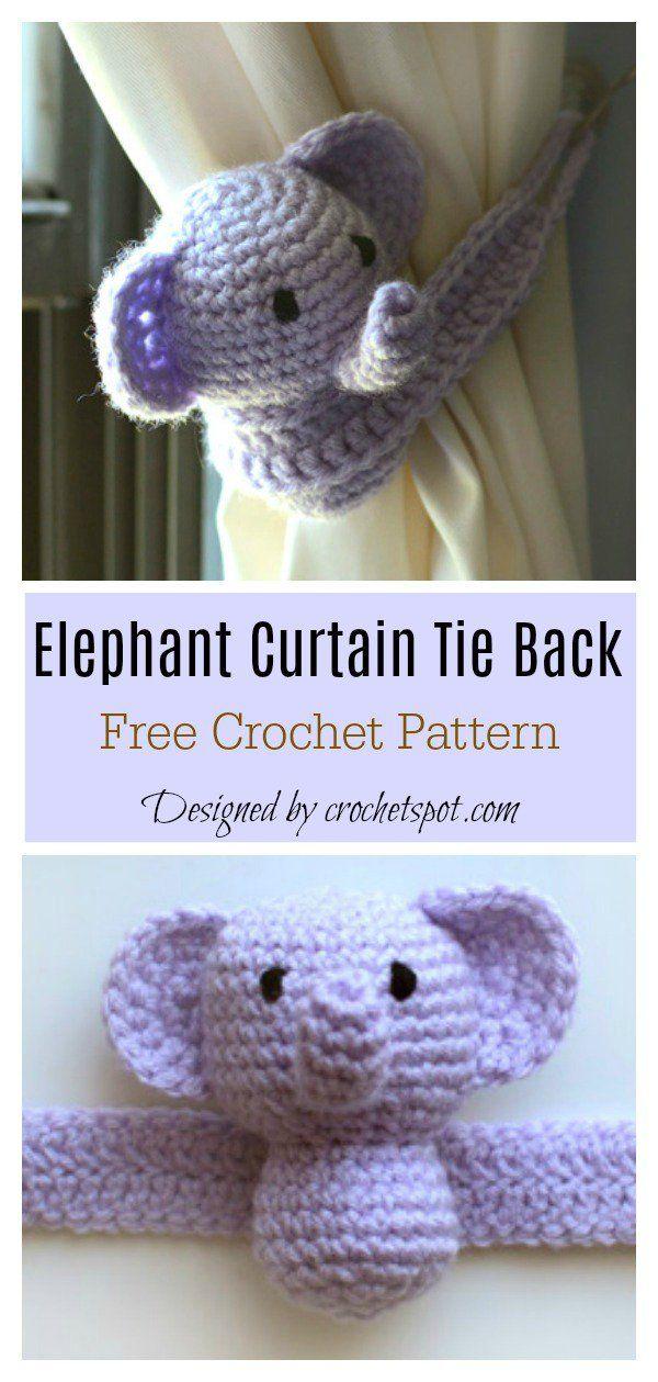 Amigurumi Elephant Curtain Tie Back Free Crochet Pattern #freecrochetpatterns #c…
