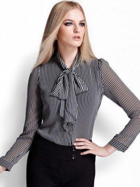 Pussy bow blouses, como é conhecida em inglês, a Gola Laço no meu ponto de vista…