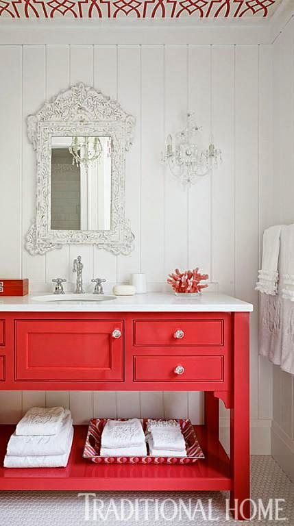 vanity painted red, ceiling wallpapered towels ruffled - love this bathroom