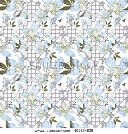 Patchwork abstract seamless floral, pattern texture light background with decorative elements.blue delicate flowers