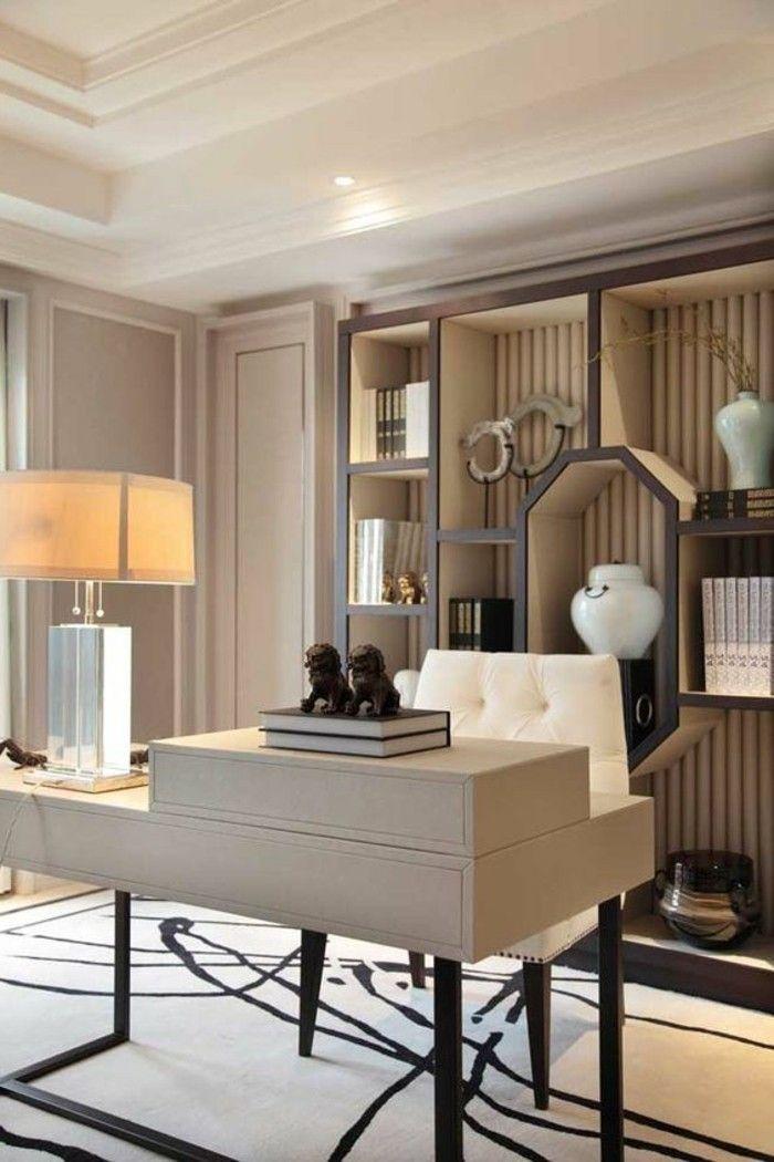 7 Arbeitszimmer Einrichten Modern Weisser Stugl Schrank Regalsystem Teppich Schreibtisch Buecher Luxuriose Inneneinrichtung Mobeldesign Hausburo Schreibtische