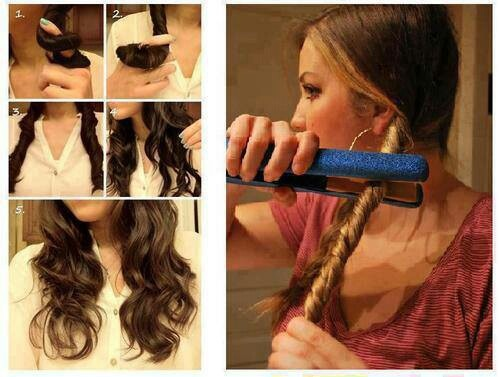 Clever and easy| How to do beachy waves in less than 5 minutes: 1. Divide your hair into two parts. 2. Twist each section and tie with a hair tie. 3. Run your straighter/flat iron over both of the twist a few times. 4. Untie twists, and youre done. Ill need to try this.