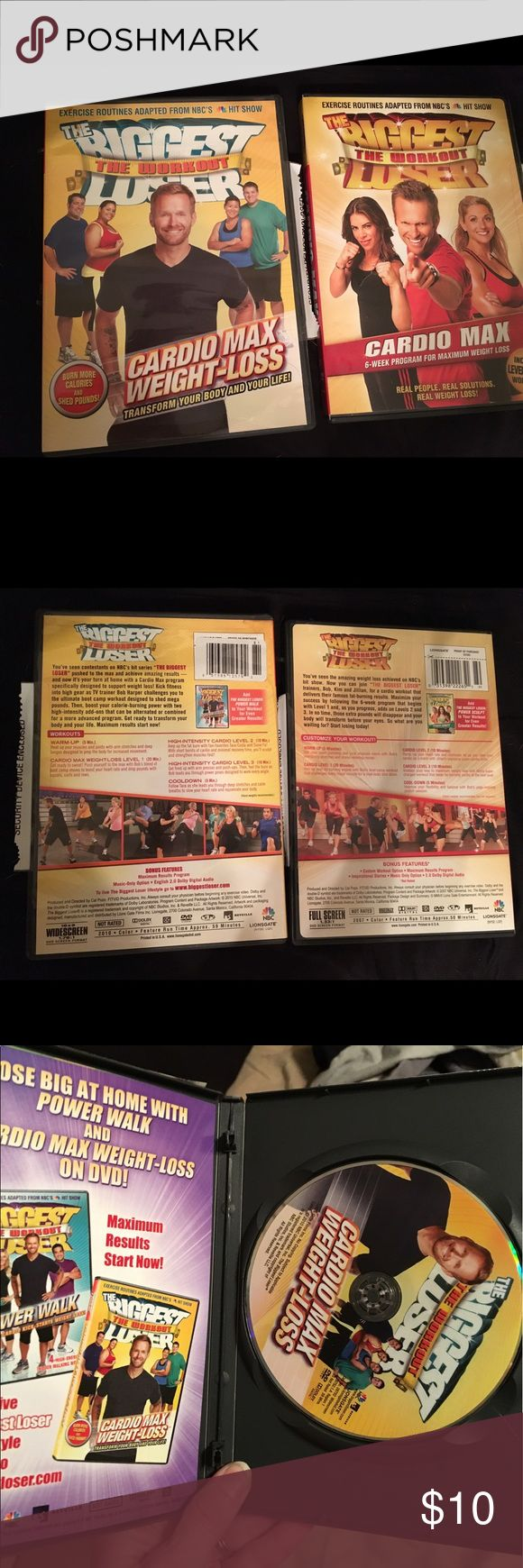 Biggest Loser workout 2 DVD set Biggest Loser workout 2 DVD set. Each DVD comes with 3 cardio level workouts designed for fat shredding.  6 workouts all together each disc you can do level one or add on levels 2 or 3 so you'll never get bored. Great addition to your at home workout DVDs. Other