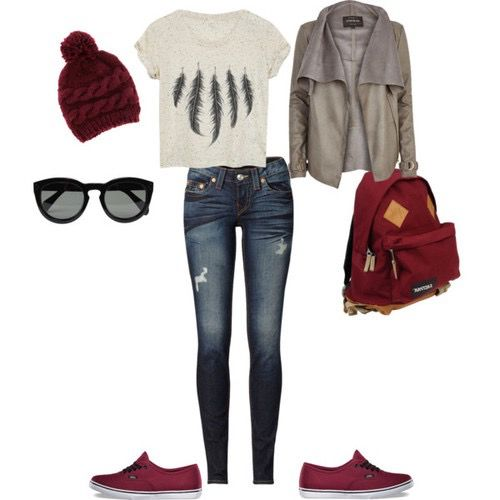 Red Hat, Sunglasses, Ripped Dark Jeans, Red Shoes, Red Backpack, Silver Jacket, White Feather Shirt