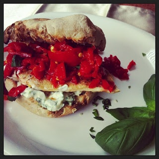 Chicken sandwich, Basil pesto and Roasted red peppers on Pinterest