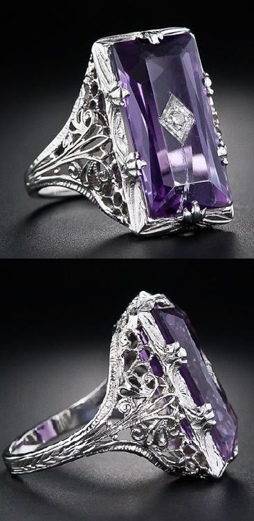 Art Deco amethyst and diamond filigree ring.  -  Pinned 9-8-2015.