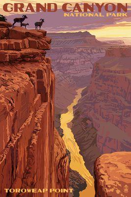 Grand Canyon National Park - Toroweap Point - Lantern Press Poster