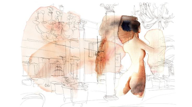 Watercolor illustration for wallpaper, woman and interior